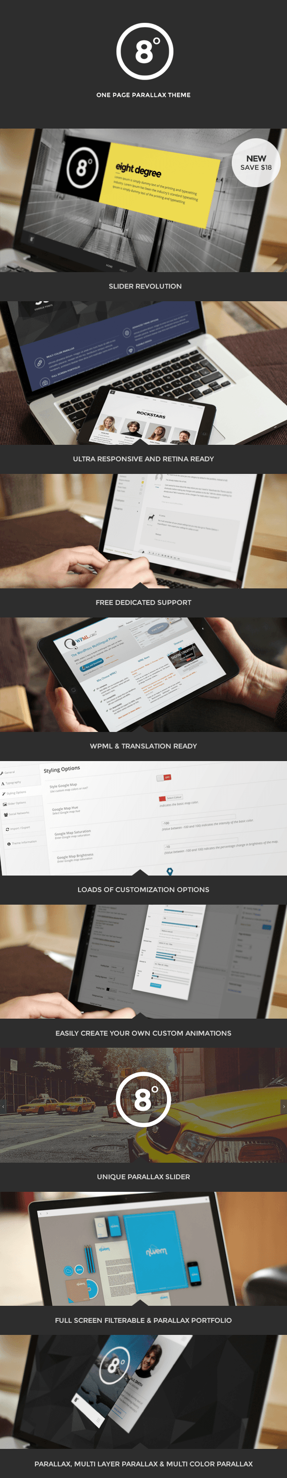 WordPress theme Eight Degree - One Page Parallax Theme (Portfolio)